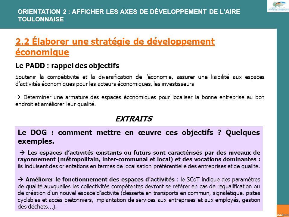 2.2 Élaborer une stratégie de développement économique