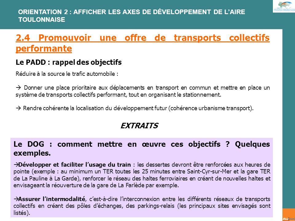 2.4 Promouvoir une offre de transports collectifs performante