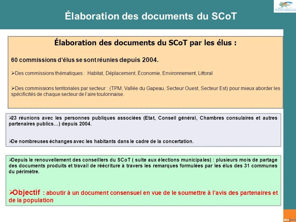 Élaboration des documents du SCoT par les élus :