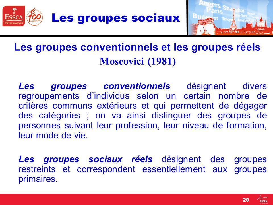 Les groupes conventionnels et les groupes réels