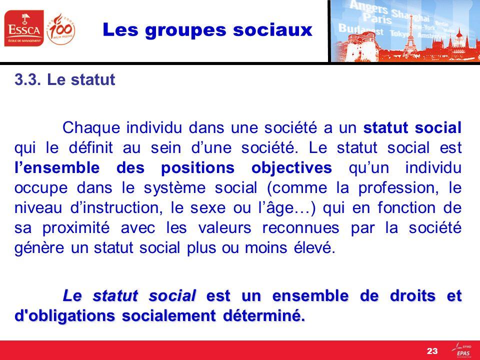 Les groupes sociaux 3.3. Le statut.