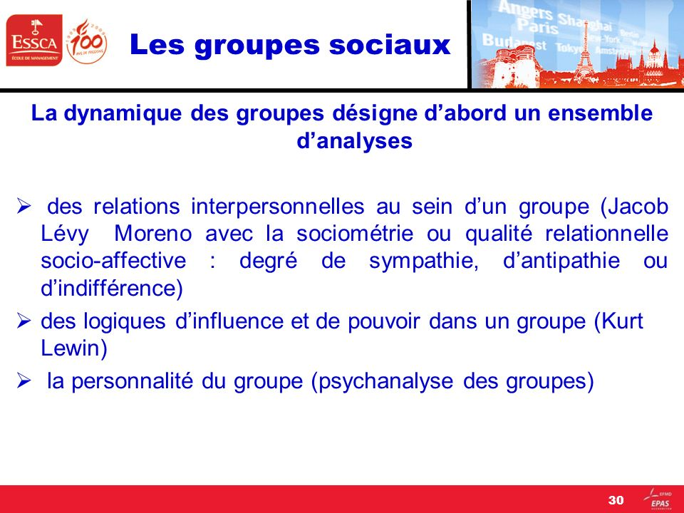 La dynamique des groupes désigne d'abord un ensemble d'analyses