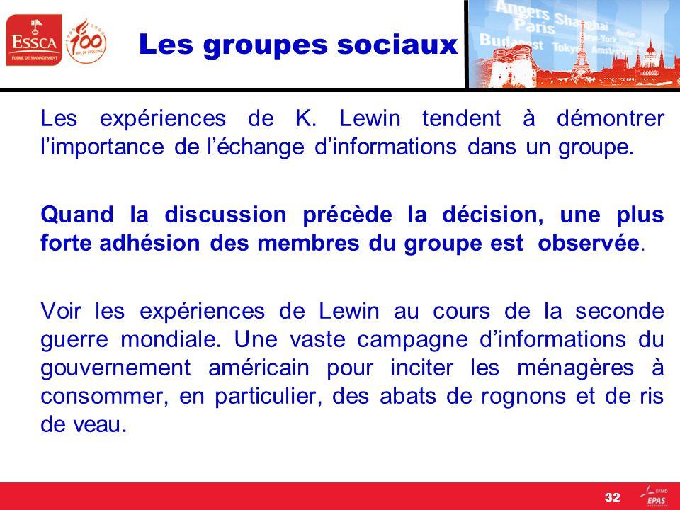 Les groupes sociaux Les expériences de K. Lewin tendent à démontrer l'importance de l'échange d'informations dans un groupe.