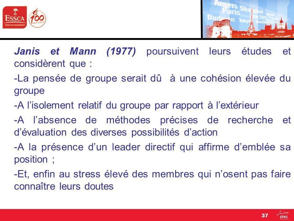 Janis et Mann (1977) poursuivent leurs études et considèrent que : -La pensée de groupe serait dû à une cohésion élevée du groupe -A l'isolement relatif du groupe par rapport à l'extérieur -A l'absence de méthodes précises de recherche et d'évaluation des diverses possibilités d'action -A la présence d'un leader directif qui affirme d'emblée sa position ; -Et, enfin au stress élevé des membres qui n'osent pas faire connaître leurs doutes