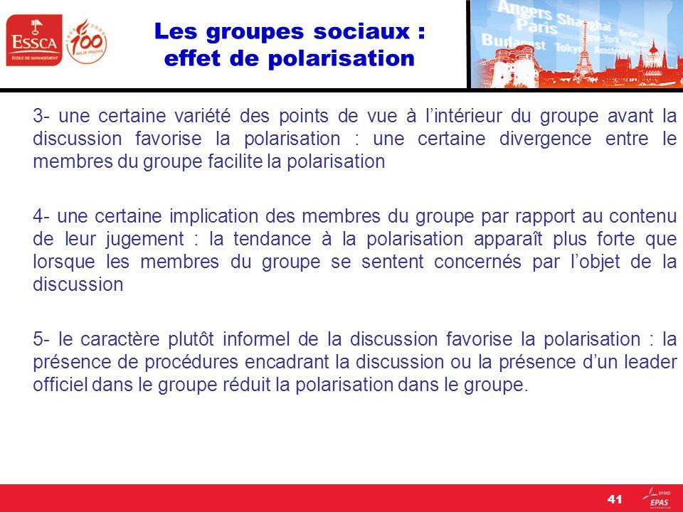 Les groupes sociaux : effet de polarisation