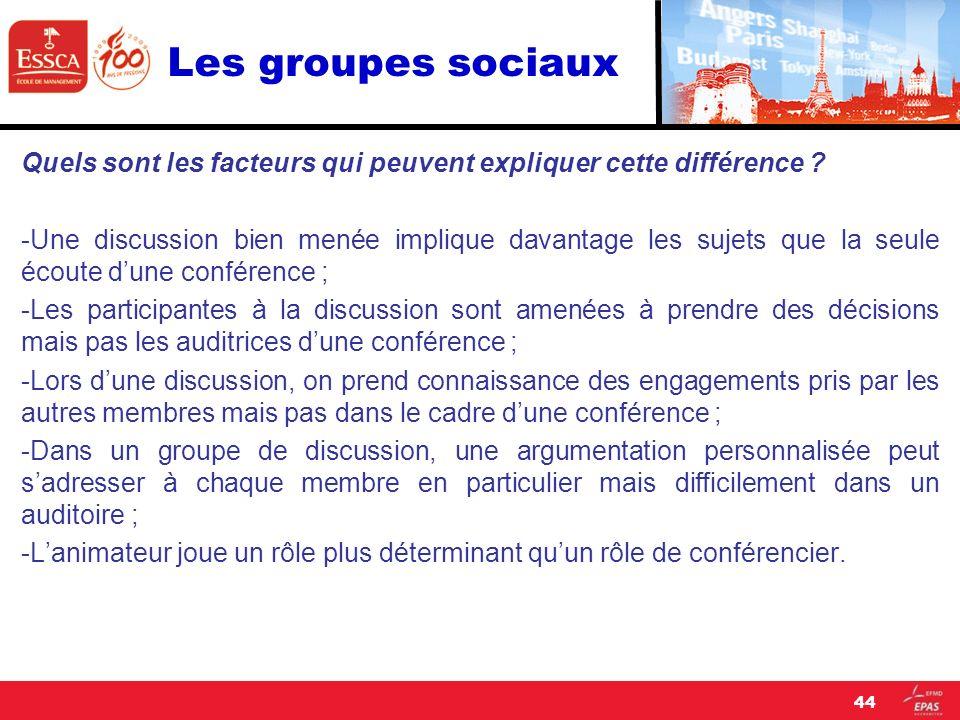 Les groupes sociaux Quels sont les facteurs qui peuvent expliquer cette différence