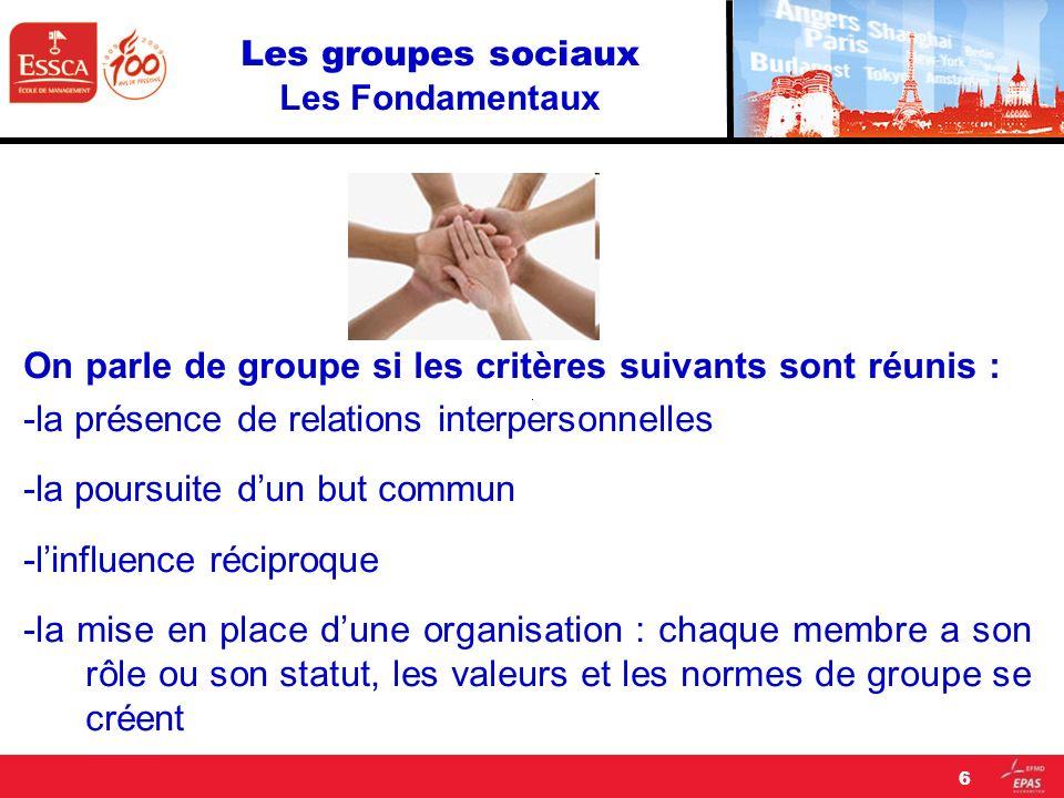 Les groupes sociaux Les Fondamentaux