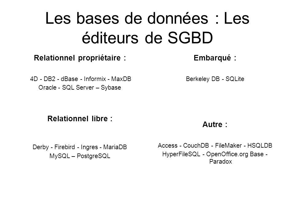 Les bases de données : Les éditeurs de SGBD