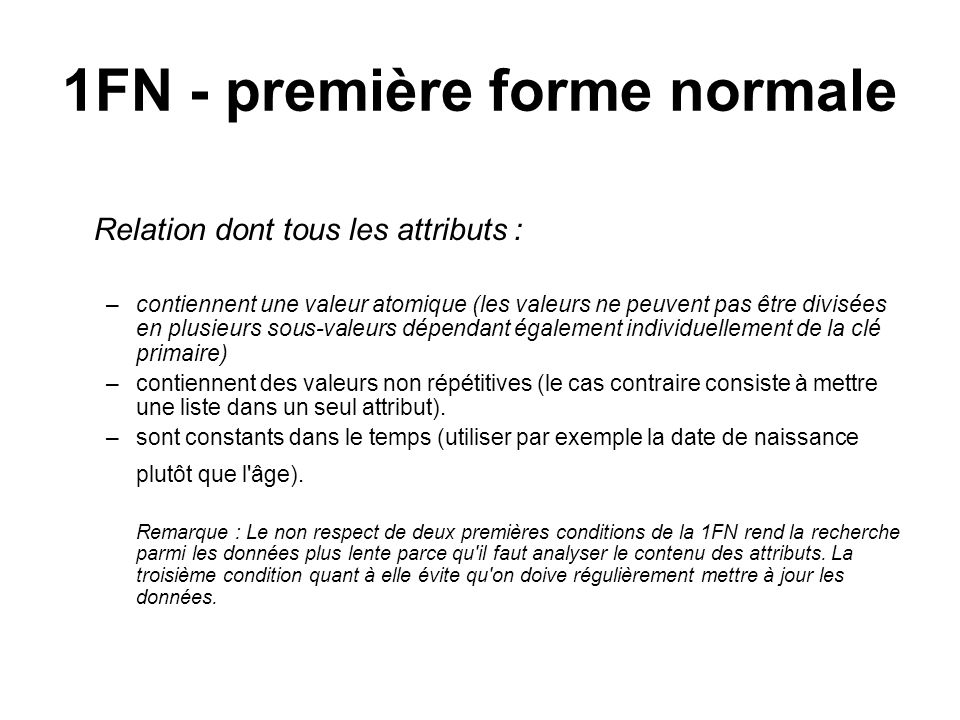 1FN - première forme normale