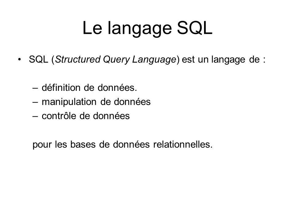 Le langage SQL SQL (Structured Query Language) est un langage de :