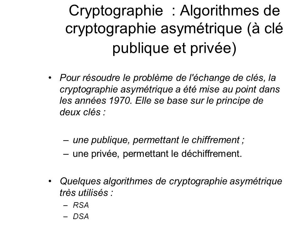 Cryptographie : Algorithmes de cryptographie asymétrique (à clé publique et privée)