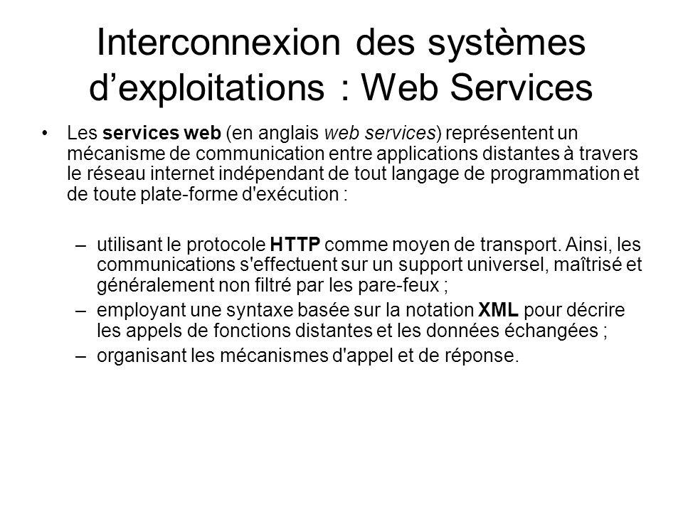 Interconnexion des systèmes d'exploitations : Web Services