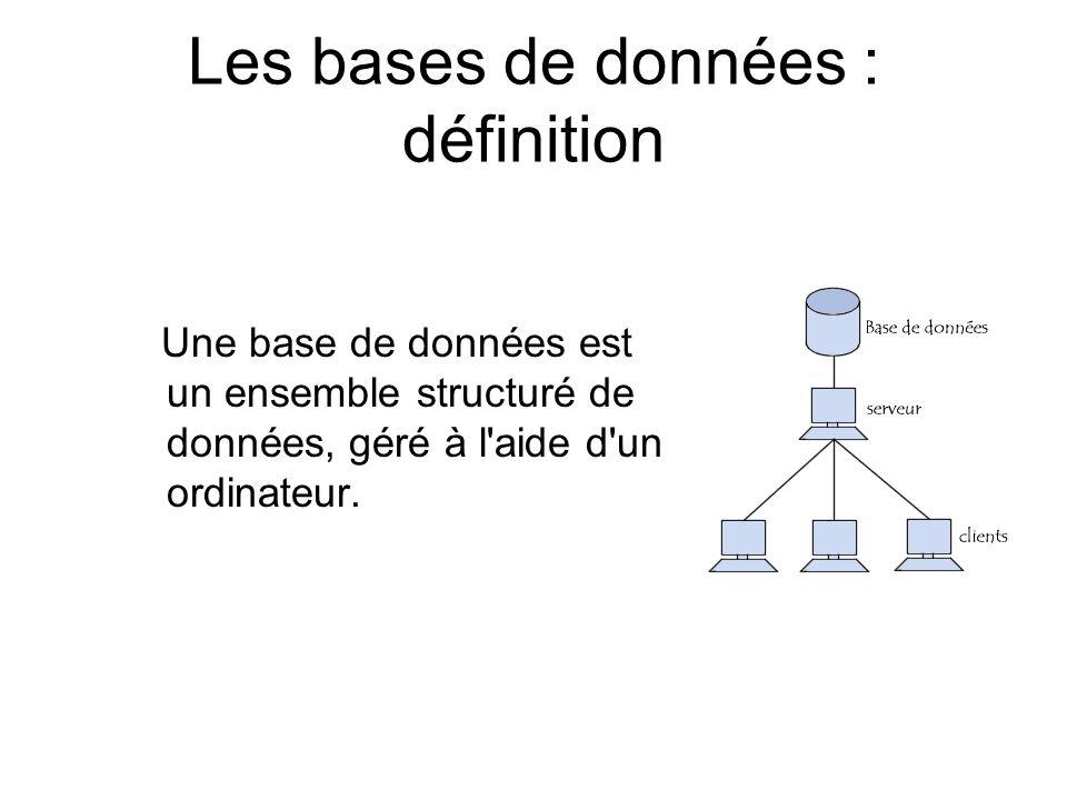 Les bases de données : définition