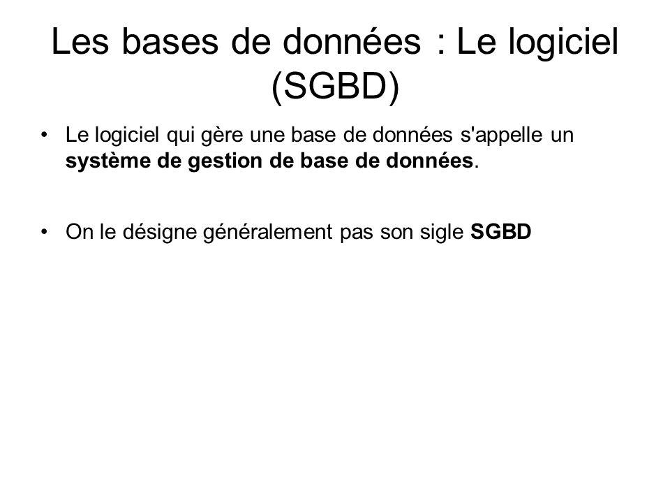 Les bases de données : Le logiciel (SGBD)