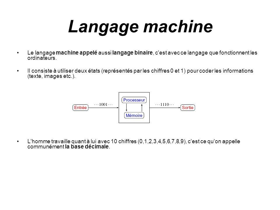 Langage machine Le langage machine appelé aussi langage binaire, c est avec ce langage que fonctionnent les ordinateurs.