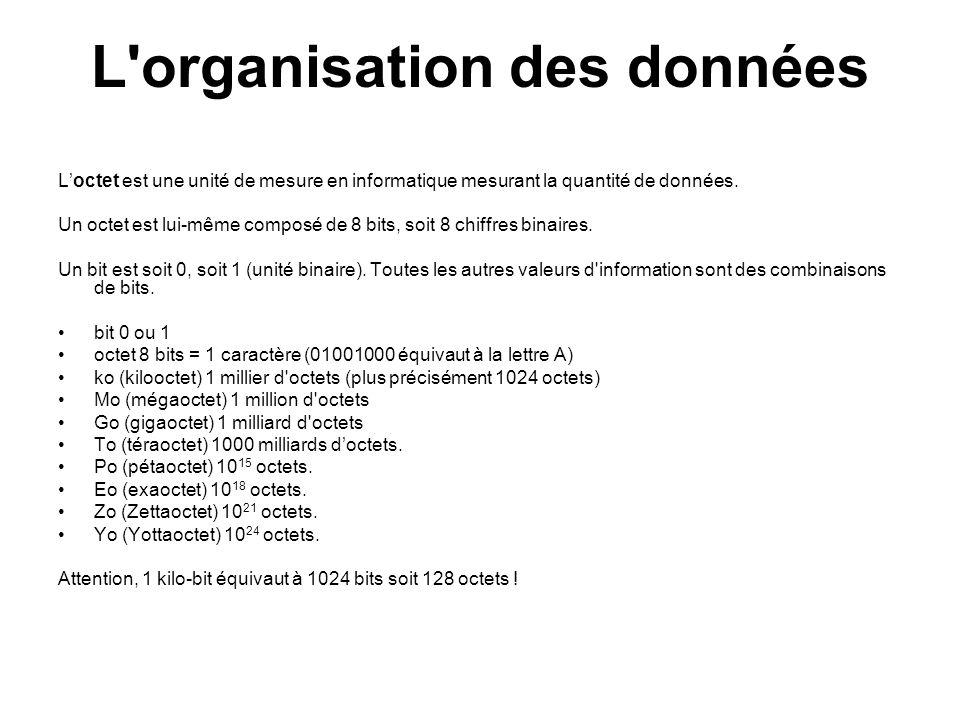 L organisation des données