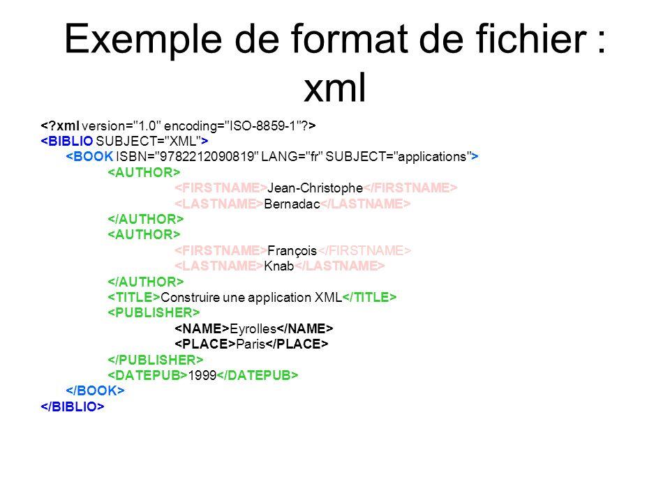 Exemple de format de fichier : xml