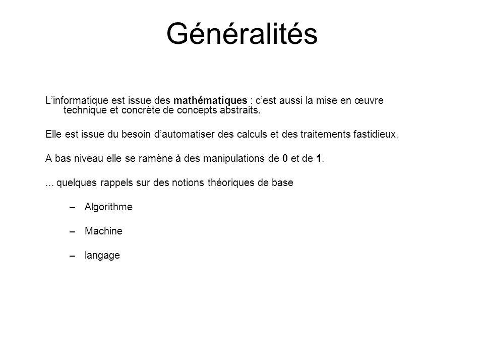 Généralités L'informatique est issue des mathématiques : c'est aussi la mise en œuvre technique et concrète de concepts abstraits.