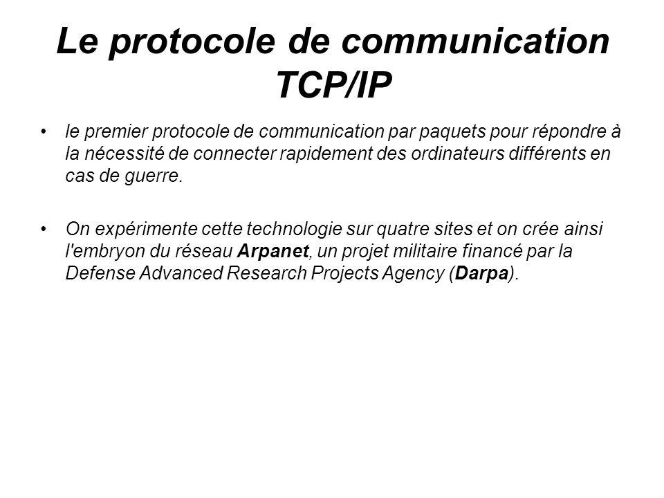 Le protocole de communication TCP/IP