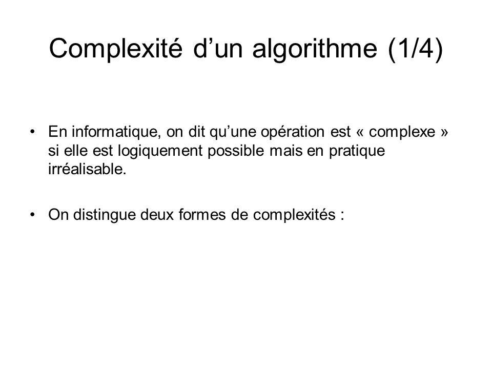 Complexité d'un algorithme (1/4)