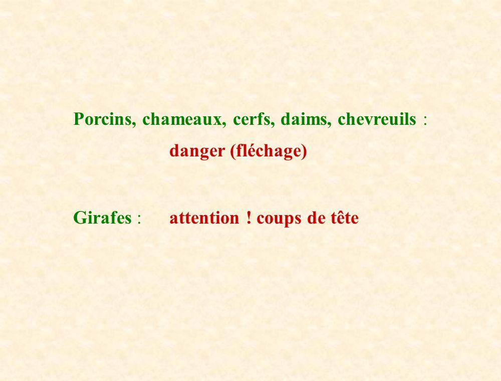 Porcins, chameaux, cerfs, daims, chevreuils :