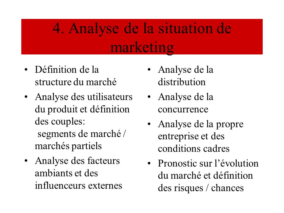 4. Analyse de la situation de marketing