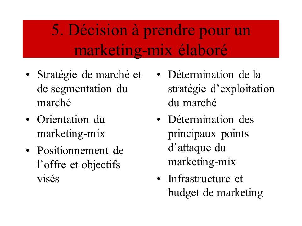 5. Décision à prendre pour un marketing-mix élaboré