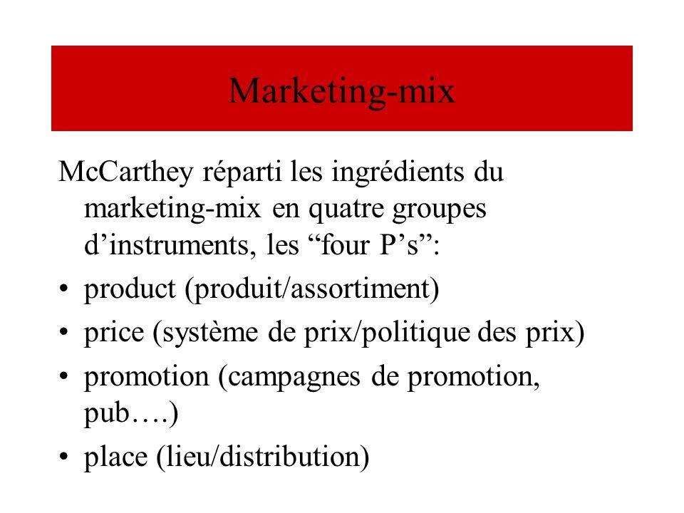 Marketing-mixMcCarthey réparti les ingrédients du marketing-mix en quatre groupes d'instruments, les four P's :
