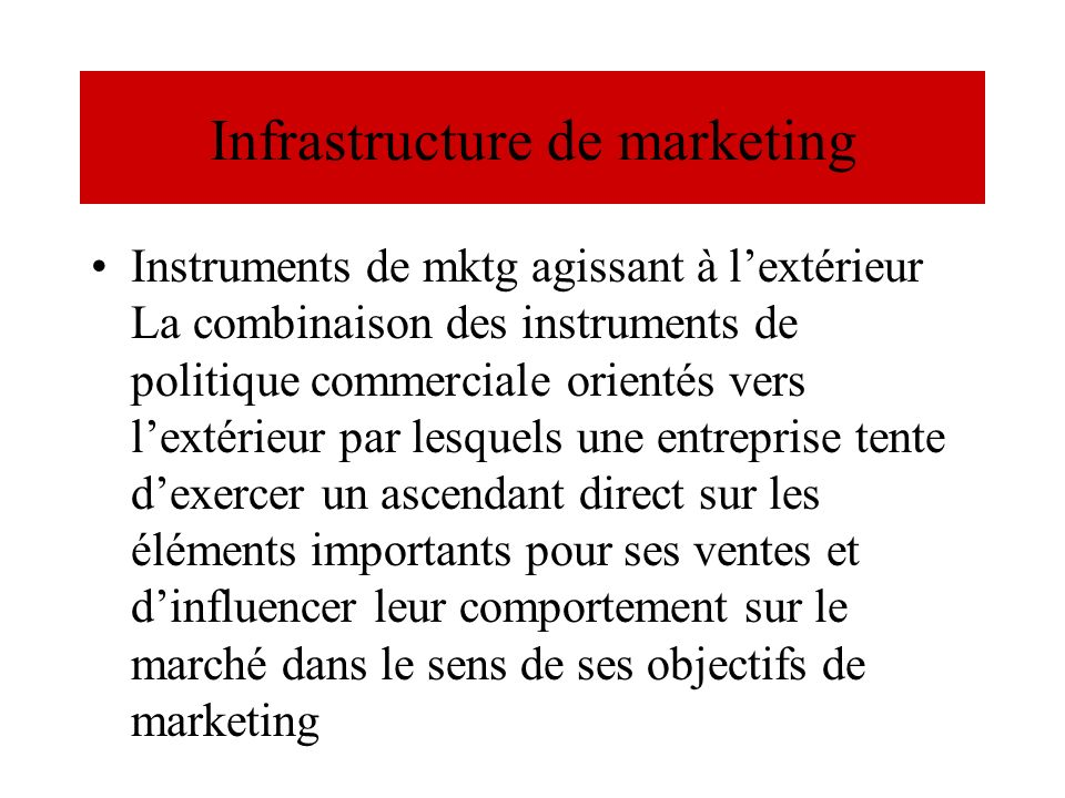 Infrastructure de marketing