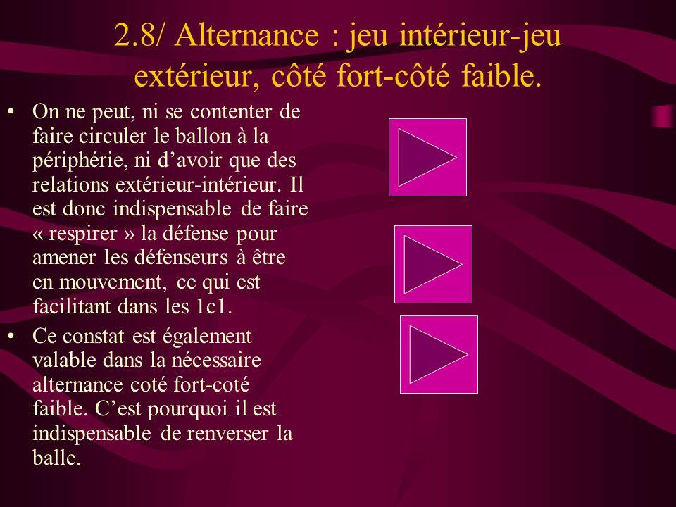 2.8/ Alternance : jeu intérieur-jeu extérieur, côté fort-côté faible.