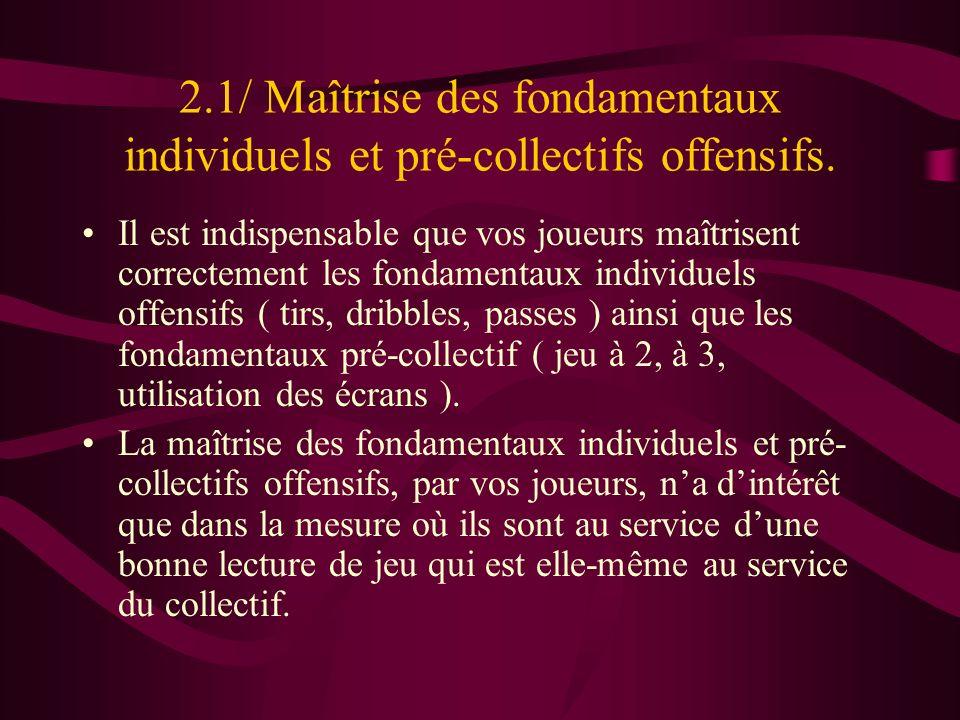 2.1/ Maîtrise des fondamentaux individuels et pré-collectifs offensifs.