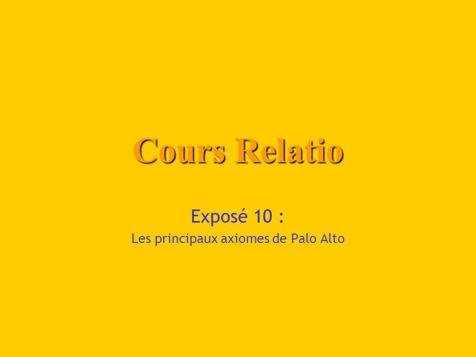 Exposé 10 : Les principaux axiomes de Palo Alto