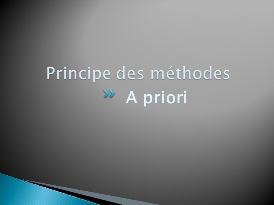 Principe des méthodes A priori