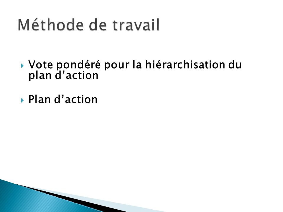 Méthode de travail Vote pondéré pour la hiérarchisation du plan d'action Plan d'action