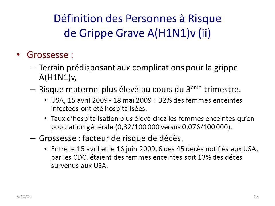 Définition des Personnes à Risque de Grippe Grave A(H1N1)v (ii)
