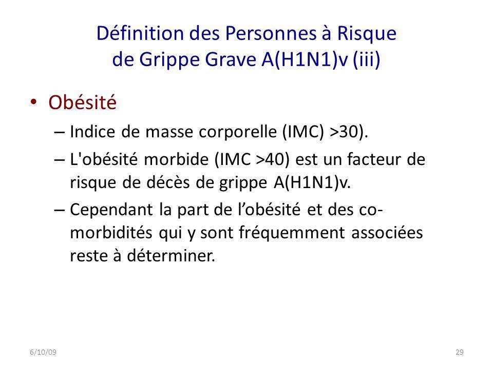 Définition des Personnes à Risque de Grippe Grave A(H1N1)v (iii)