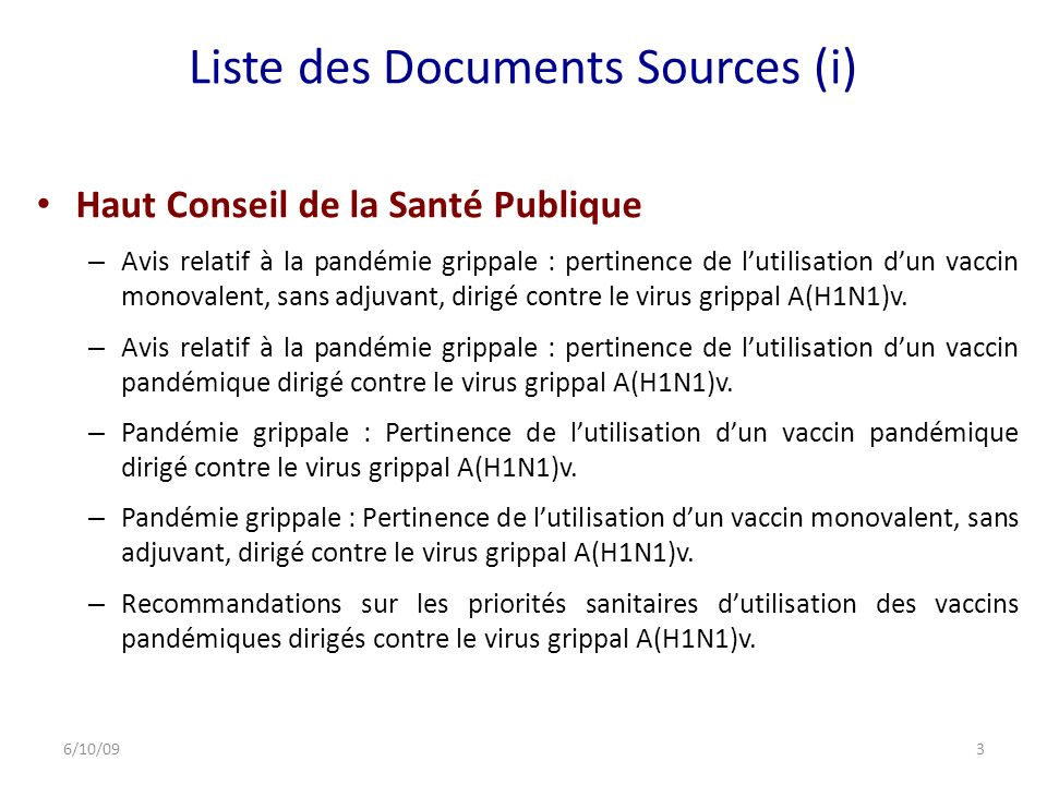 Liste des Documents Sources (i)
