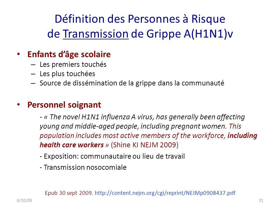Définition des Personnes à Risque de Transmission de Grippe A(H1N1)v