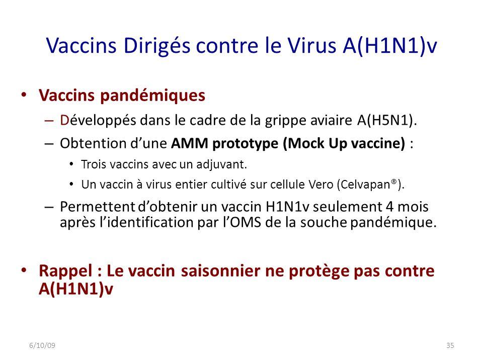 Vaccins Dirigés contre le Virus A(H1N1)v