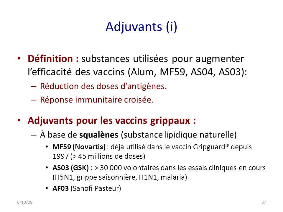 Adjuvants (i) Définition : substances utilisées pour augmenter l'efficacité des vaccins (Alum, MF59, AS04, AS03):