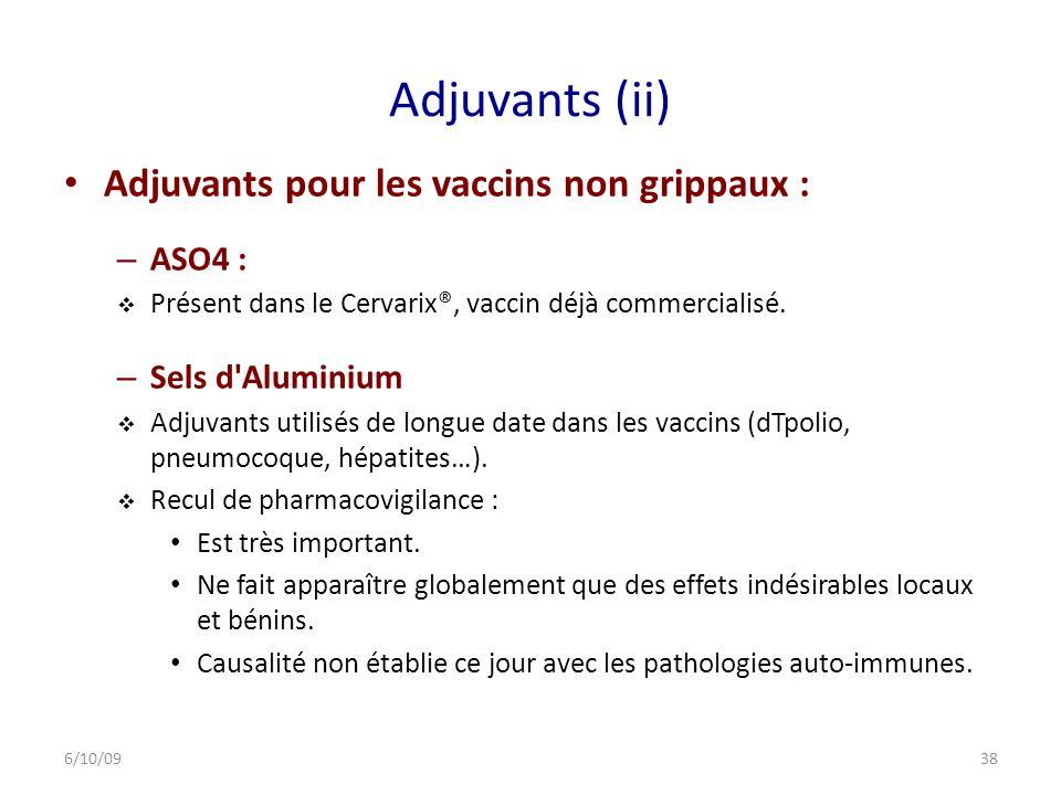 Adjuvants (ii) Adjuvants pour les vaccins non grippaux : ASO4 :