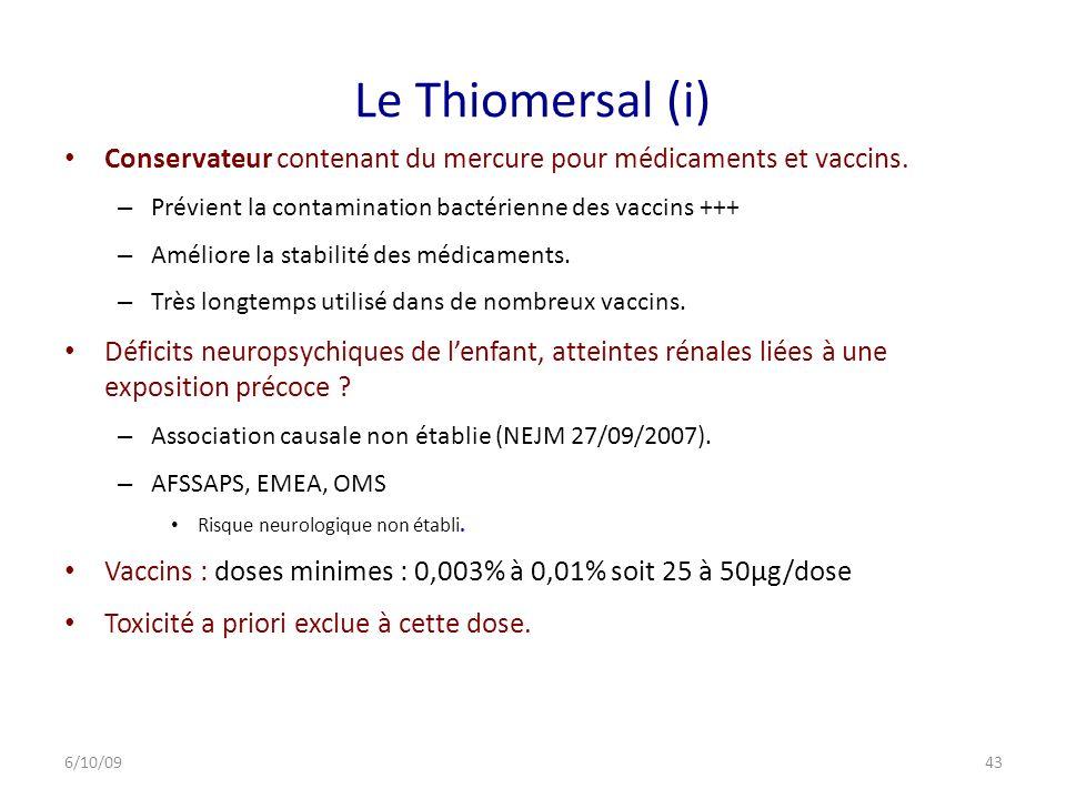 Le Thiomersal (i) Conservateur contenant du mercure pour médicaments et vaccins. Prévient la contamination bactérienne des vaccins +++