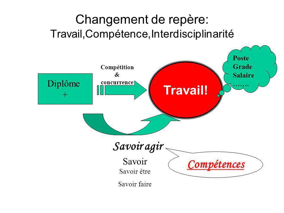 Changement de repère: Travail,Compétence,Interdisciplinarité