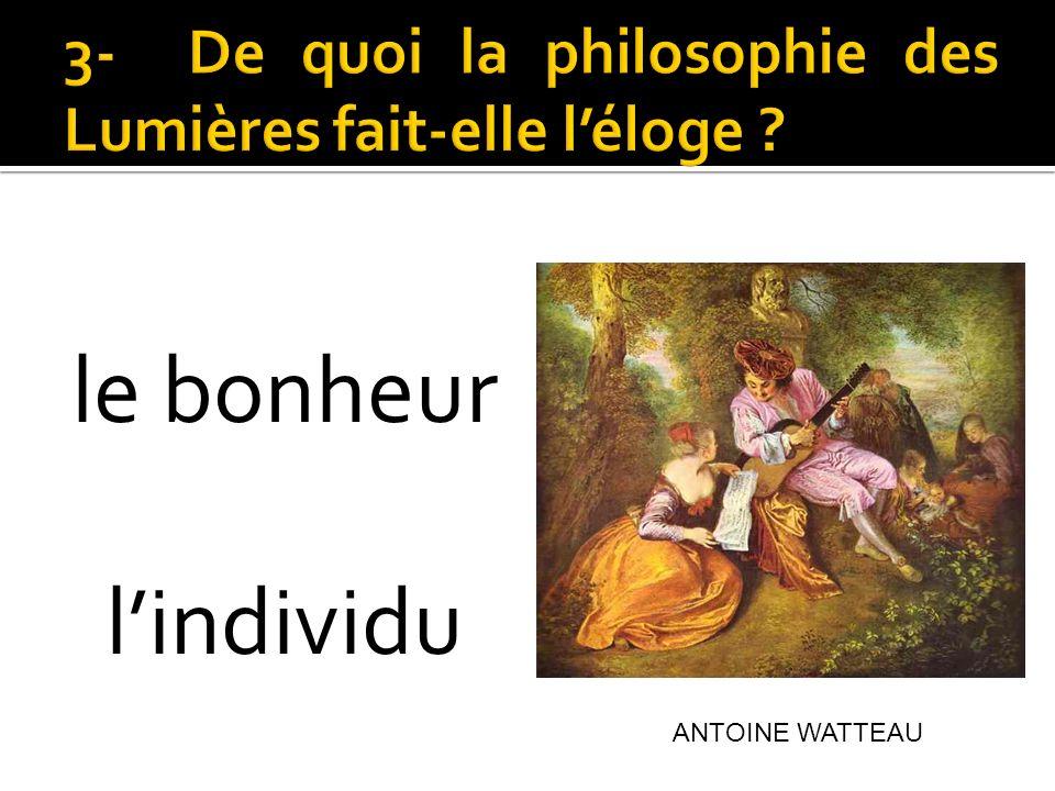 3- De quoi la philosophie des Lumières fait-elle l'éloge
