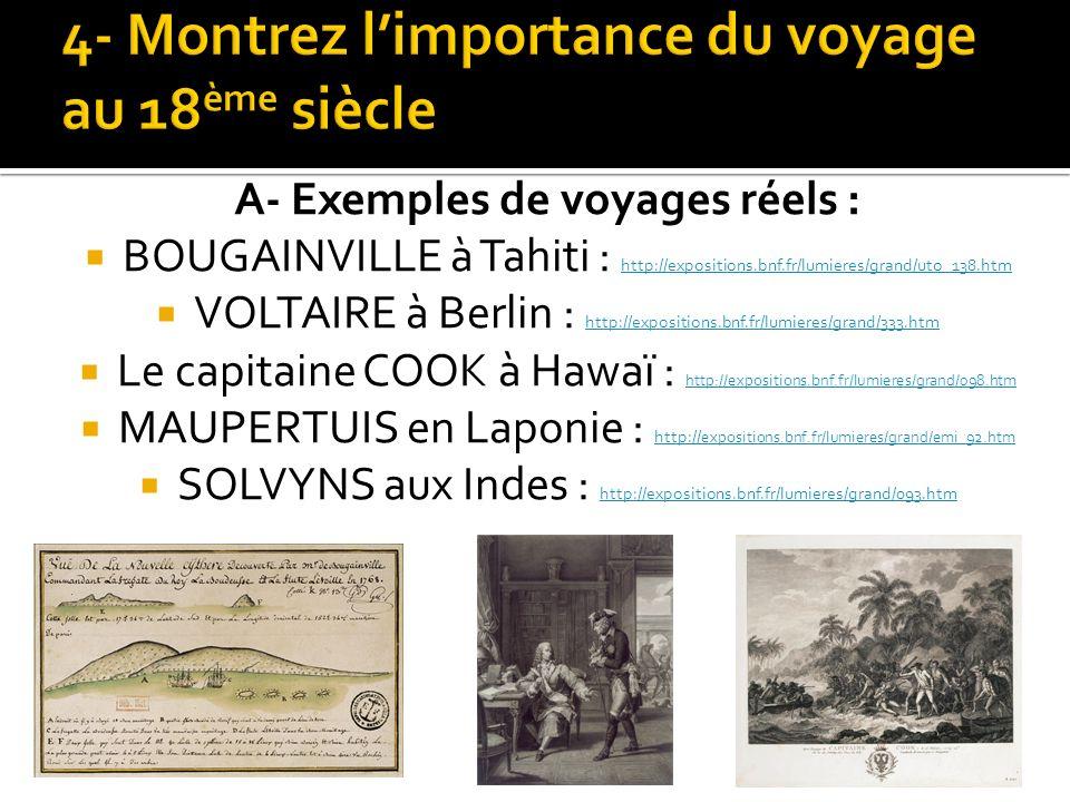 4- Montrez l'importance du voyage au 18ème siècle