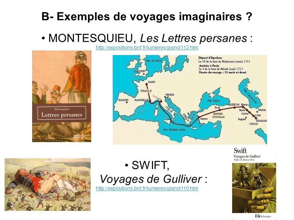B- Exemples de voyages imaginaires