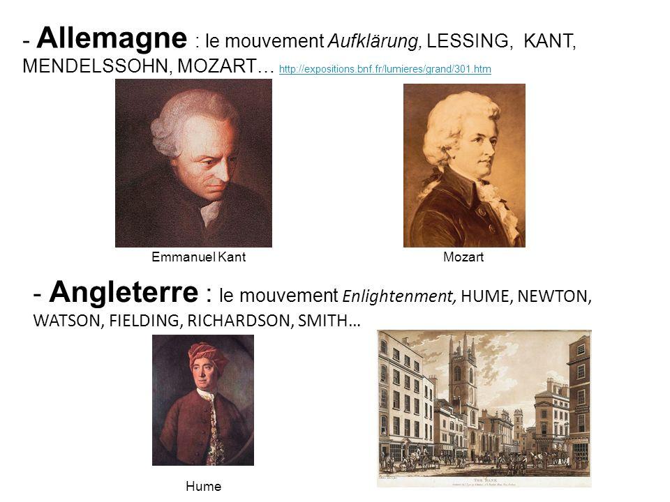 Allemagne : le mouvement Aufklärung, LESSING, KANT, MENDELSSOHN, MOZART… http://expositions.bnf.fr/lumieres/grand/301.htm