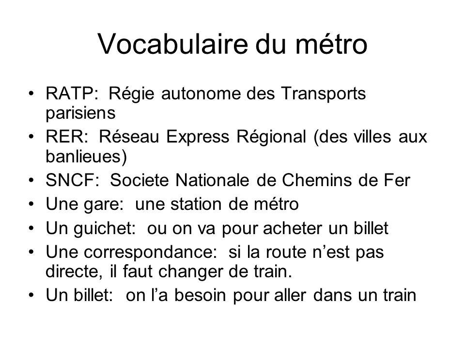 Vocabulaire du métro RATP: Régie autonome des Transports parisiens