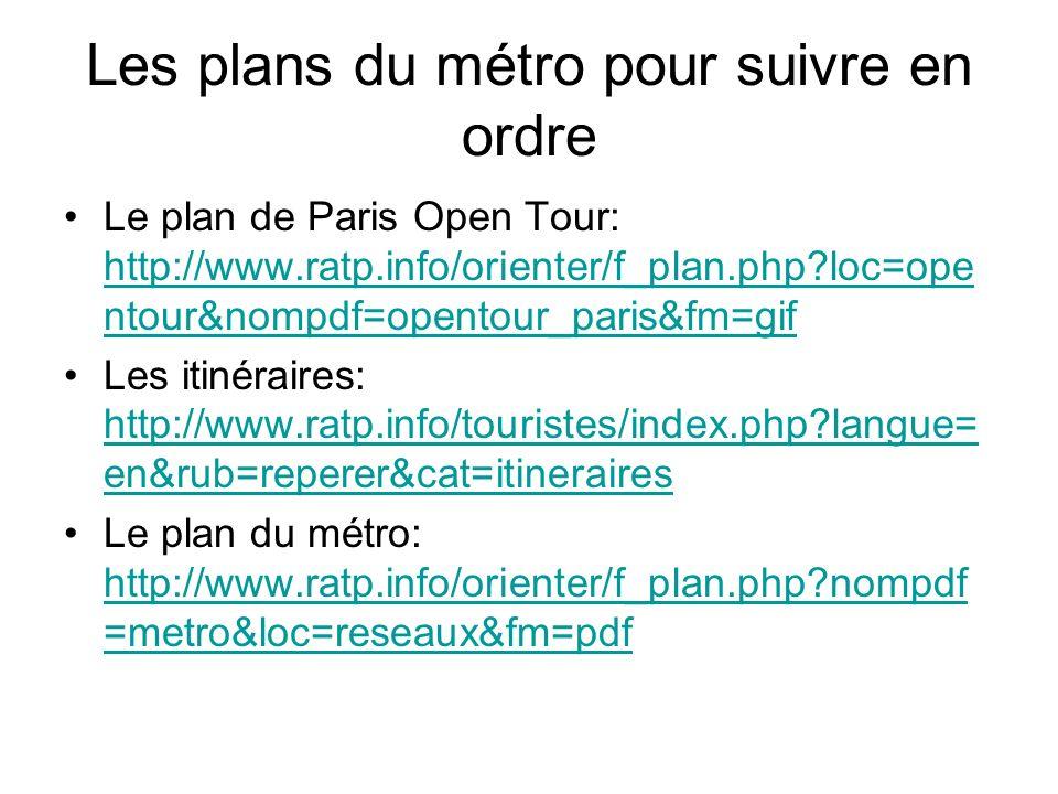 Les plans du métro pour suivre en ordre