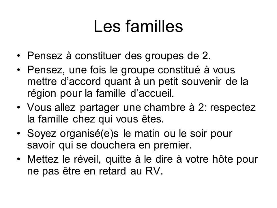 Les familles Pensez à constituer des groupes de 2.